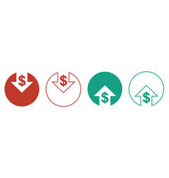 Cost reduction icons for web design line style vector