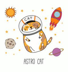 Cute astronaut cat vector