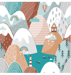 Cute seamless landscape pattern with sea vector