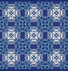 damask mosaic floral blue seamless tiles vector image