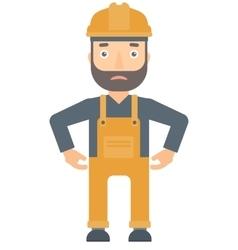 Depressed caucasian builder in hard hat vector image