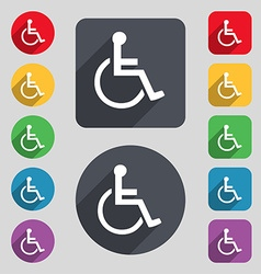 Disabled icon sign A set of 12 colored buttons and vector