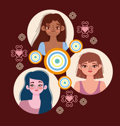 Diversity women characters young female round vector