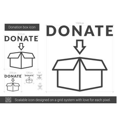 Donation box line icon vector