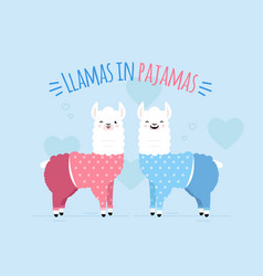 doodle two llamas vector image