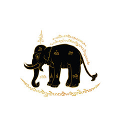 elephant in thai traditional painting vector image