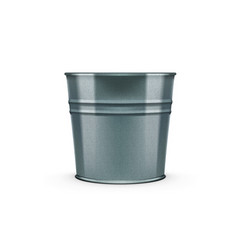 empty glossy metal bucket isolated on white vector image