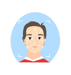 Face recognition boy smiling detect point face vector