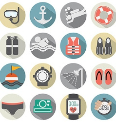 Flat Design Diving Icon Set vector