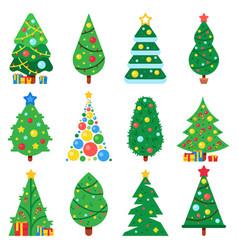 Flat paper christmas tree winter holidays trees vector