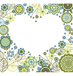 Floral frame in heart shape vector image