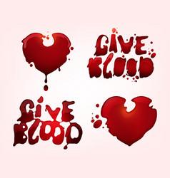 Give blood elements set vector
