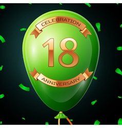 Green balloon with golden inscription eighteen vector