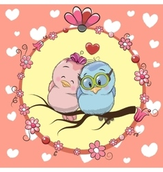 Greeting card with Two cute Cartoon Birds vector