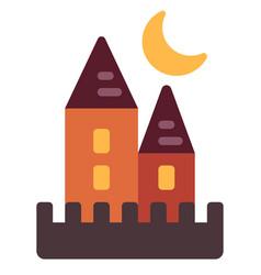 Halloween castle flat vector
