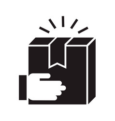 hand delivery box icon simple style vector image
