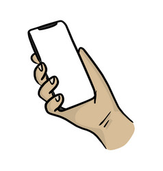 hand holding smartphone with notch display vector image