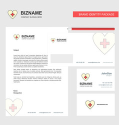 heart business letterhead envelope and visiting vector image