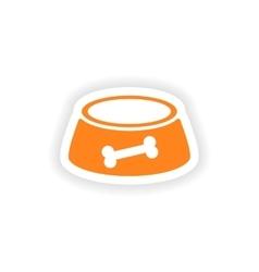 Icon sticker realistic design on paper dog bowl vector