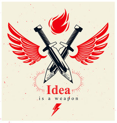 Idea is a weapon concept weapon a designer vector