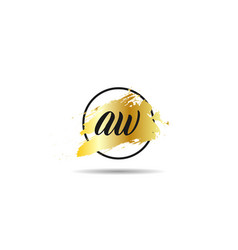initial letter aw logo template design vector image