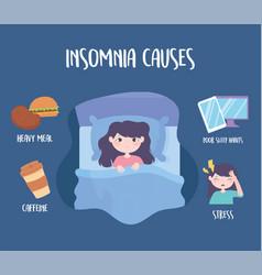 Insomnia sleep disorder causes caffeine heavy vector