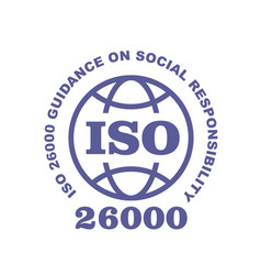 Iso 26000 stamp sign - guidance on social vector