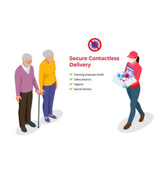 Isometric contactless deliveryman in a medical vector