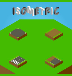 Isometric road set of footpath incomplete vector