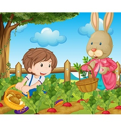 Kid and bunny picking out vegetables vector image vector image
