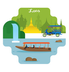 Laos travel and attraction landmarks vector