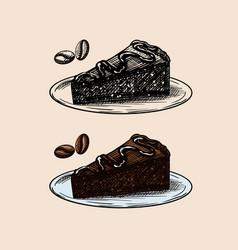 Liqueur dessert chocolate cake engraved hand vector