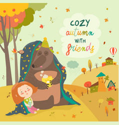 Little girl and bear sitting under plaid vector