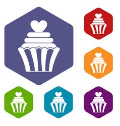 Love cupcake icons set hexagon vector