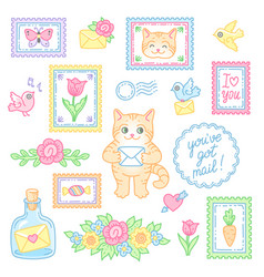 mail cat set vector image