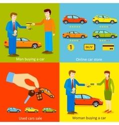 Man buying a car Woman buying a car Online car vector