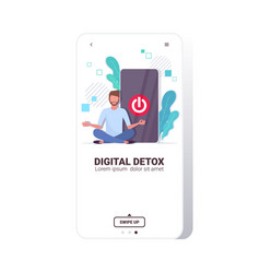 Man sitting lotus pose smartphone with turn off vector
