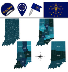 Map of indiana with regions vector