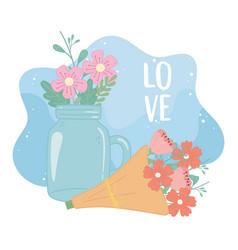 mason jar and bouquet flowers romantic decoration vector image
