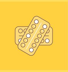 medicine pill drugs tablet patient flat line vector image