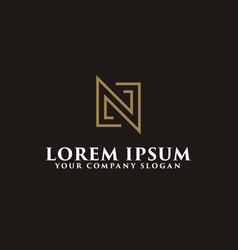 minimalist letter n logo design concept template vector image