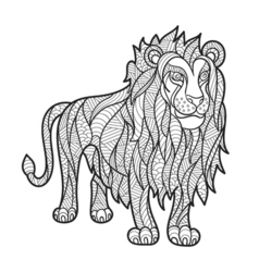 Monochrome hand drawn zentagle of lion vector