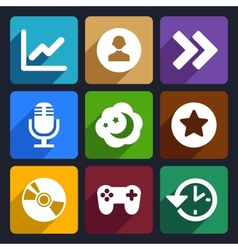 Multimedia flat icons set 6 vector image