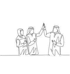 One single line drawing young muslim employees vector