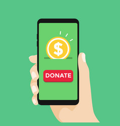 online donation smartphone with hand and money vector image