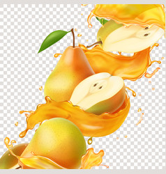 pear realistic juice splash for advertising vector image