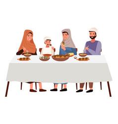 people are eating kosher food outside muslim vector image