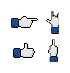 pixel theme hand gesture sign vector image