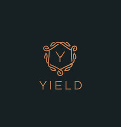 Premium linear shield monogram letter y logotype vector