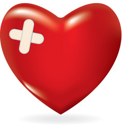 red 3d heart with crossed plaster vector image